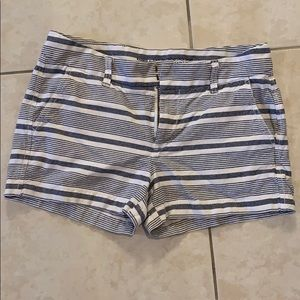 White and blue striped short